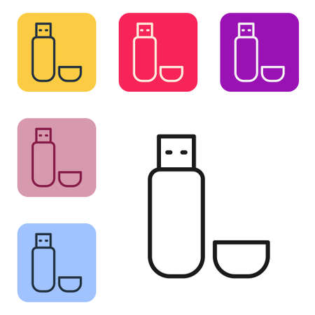 Black line USB flash drive icon isolated on white background. Set icons in color square buttons. Vector Illustration