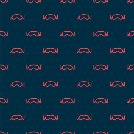 Red line Eye sleep mask icon isolated seamless pattern on black background. Vector Illustration  イラスト・ベクター素材