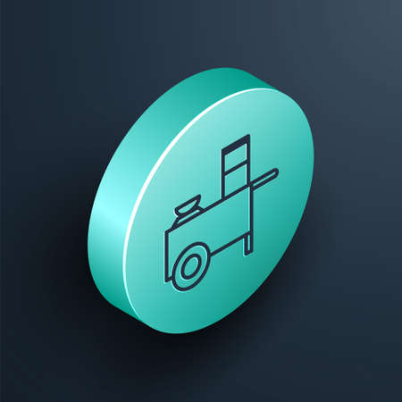 Isometric line Fast street food cart icon isolated on black background. Urban kiosk. Turquoise circle button. Vector Illustration