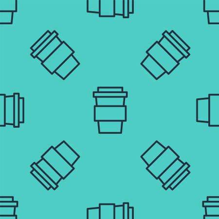 Black line Coffee cup to go icon isolated seamless pattern on green background. Vector Illustration