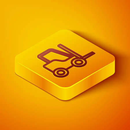 Isometric line Forklift truck icon isolated on orange background. Fork loader and cardboard box. Cargo delivery, shipping, transportation. Yellow square button. Vector Illustration