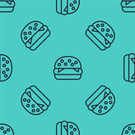 Black line Burger icon isolated seamless pattern on green background. Hamburger icon. Cheeseburger sandwich sign. Fast food menu. Vector Illustration Stock Illustratie