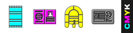 Set Beach towel, Passport, Rafting boat and Passport with visa stamp icon. Vector