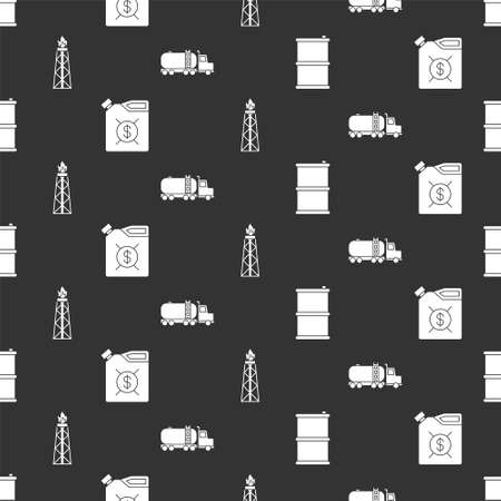 Set Barrel oil, Canister for motor machine oil, Oil rig with fire and Tanker truck on seamless pattern. Vector