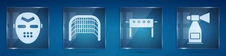Set Hockey mask, Ice hockey goal, Hockey table and Air horn. Square glass panels. Vector