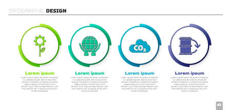 Set Leaf plant in gear machine, Hands holding Earth globe, CO2 emissions in cloud and Eco fuel barrel. Business infographic template. Vector
