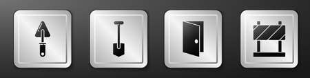 Set Trowel, Shovel, Closed door and Road barrier icon. Silver square button. Vector