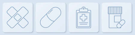 Set line Crossed bandage plaster, Medical clipboard with clinical record, Medicine pill or tablet and Medicine bottle and pills. White square button. Vector Illusztráció