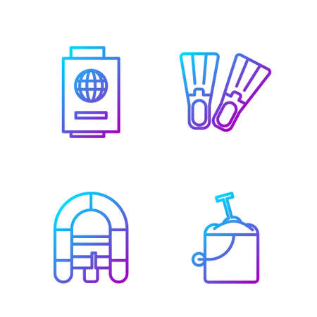 Set line Sand in bucket with shovel, Rafting boat, Passport with ticket and Rubber flippers. Gradient color icons. Vector 向量圖像