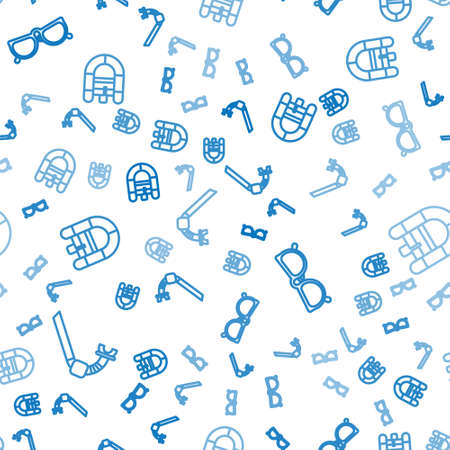 Set line Snorkel, Glasses and Rafting boat on seamless pattern. Vector 向量圖像