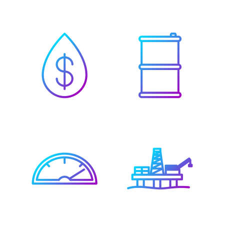 Set line Oil platform in the sea, Speedometer, Oil drop with dollar and Barrel oil. Gradient color icons. Vector Stock Illustratie