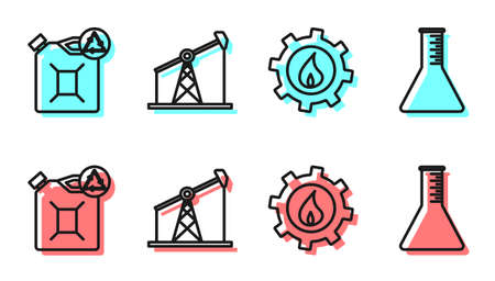 Set line Oil industrial factory building, Eco fuel canister, Oil pump or pump jack and Oil petrol test tube icon. Vector Stock Illustratie
