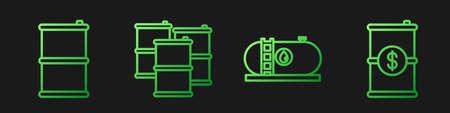 Set line Oil industrial factory building, Barrel oil, Barrel oil and Barrel oil with dollar. Gradient color icons. Vector Stock Illustratie