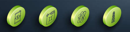 Set Isometric Barrel oil with dollar, Canister for gasoline, Atom and Oil rig with fire icon. Vector Stock Illustratie
