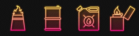 Set line Canister for motor machine oil, Oil rig with fire, Barrel oil and Lighter. Glowing neon icon. Vector