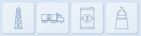 Set line Oil rig with fire, Barrel oil with dollar, Tanker truck and Oil rig with fire. White square button. Vector