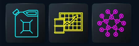 Set line Canister for gasoline, Molecule oil and Oil price increase. Black square button. Vector Stock Illustratie
