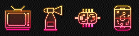 Set line Hockey table, Retro tv, Air horn and Planning strategy. Glowing neon icon. Vector