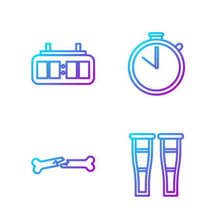 Set line Crutch or crutches, Human broken bone, Hockey mechanical scoreboard and Stopwatch. Gradient color icons. Vector