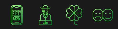 Set line Casino slot machine with clover, Casino poker tournament invitation, Poker player and Poker player. Gradient color icons. Vector Vektoros illusztráció