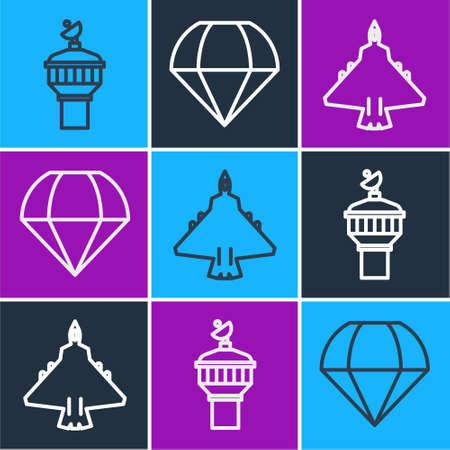 Set line Radar, Jet fighter and Parachute icon. Vector Illustration