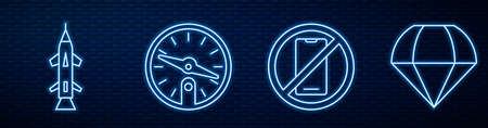 Set line No cell phone, Rocket, Compass and Parachute. Glowing neon icon on brick wall. Vector Illustration