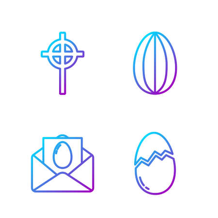 Set line Broken egg, Greeting card with Happy Easter, Christian cross and Easter egg. Gradient color icons. Vector
