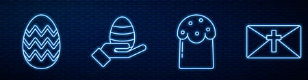 Set line Easter cake, Easter egg, Human hand and easter egg and Greeting card with Happy Easter. Glowing neon icon on brick wall. Vector