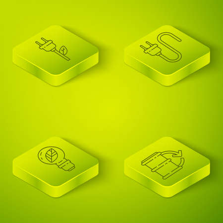 Set Isometric Electric plug, Light bulb with leaf, Eco fuel barrel and Electric saving plug in leaf icon. Vector