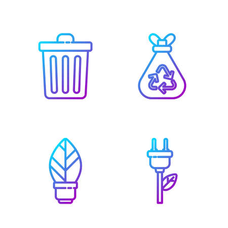Set line Electric saving plug in leaf, Light bulb with leaf, Trash can and Garbage bag with recycle. Gradient color icons. Vector Çizim