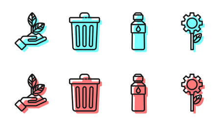 Set line Bottle of water, Plant in hand, Trash can and Leaf plant in gear machine icon. Vector