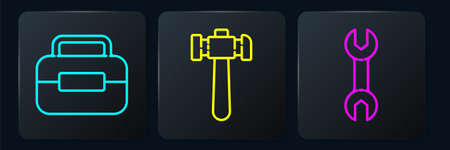 Set line Toolbox, Wrench spanner and Hammer. Black square button. Vector Çizim