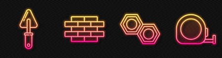 Set line Hexagonal metal nut, Trowel, Bricks and Roulette construction. Glowing neon icon. Vector