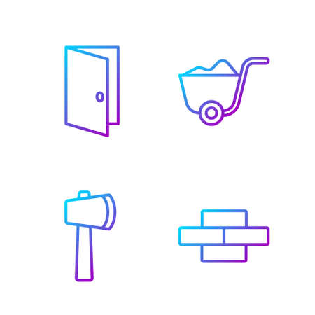 Set line Bricks, Wooden axe, Closed door and Shovel. Gradient color icons. Vector