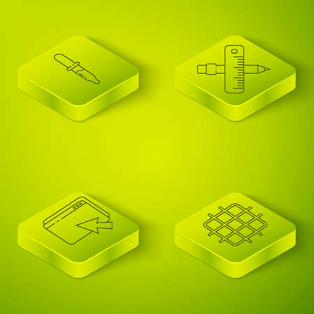 Set Isometric Crossed ruler and pencil, Web design and development, Grid graph paper and Pipette icon. Vector