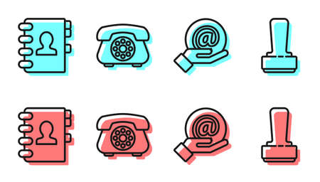 Set line Mail and e-mail in hand, Address book, Telephone and Stamp icon. Vector