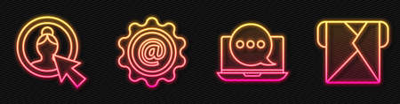 Set line Chat messages notification on laptop, Create account screen, Mail and e-mail and Envelope. Glowing neon icon. Vector