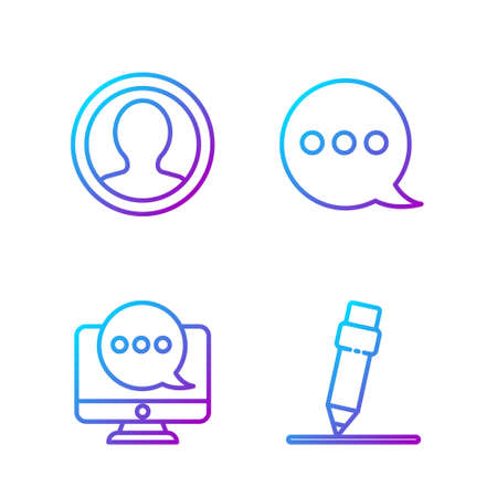 Set line Pencil with eraser, Chat messages notification on monitor, Create account screen and Speech bubble chat. Gradient color icons. Vector Çizim