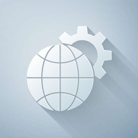 Paper cut Globe of the Earth and gear or cog icon isolated on grey background. Setting parameters. Global Options. Paper art style. Vector Illustration