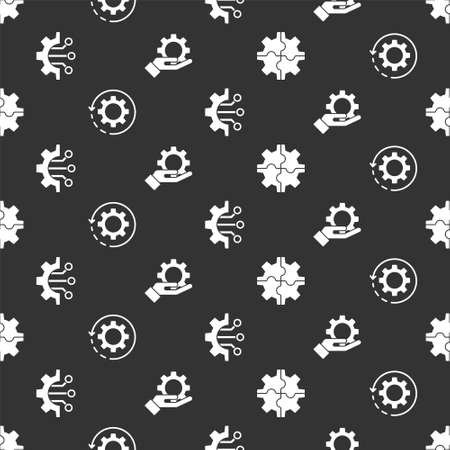 Set Gear, Gear and arrows as workflow, Algorithm and Settings in the hand on seamless pattern. Vector