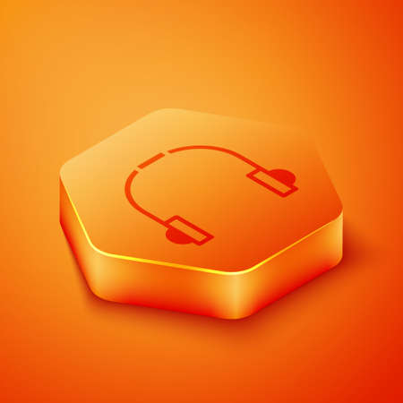 Isometric Headphones icon isolated on orange background. Earphones. Concept for listening to music, service, communication and operator. Orange hexagon button. Vector Illustration