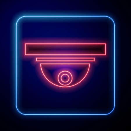 Glowing neon Motion sensor icon isolated on blue background. Vector Illustration Illusztráció