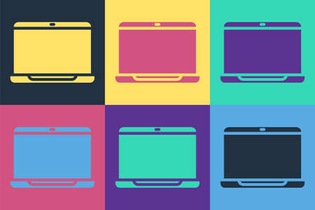 Pop art Laptop icon isolated on color background. Computer notebook with empty screen sign. Vector Illustration