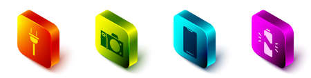 Set Isometric Electric plug, Photo camera, Smartphone, mobile phone and Broken battery icon. Vector