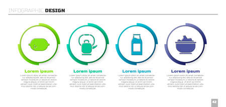 Set Lemon, Kettle with handle, Bottle with milk and Sea salt in a bowl. Business infographic template. Vector