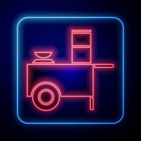 Glowing neon Fast street food cart icon isolated on blue background. Urban kiosk. Vector Illustration