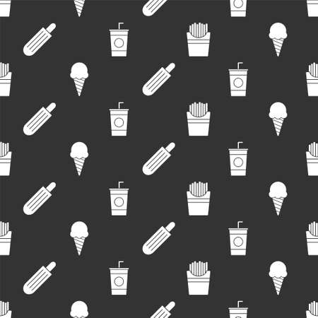 Set Potatoes french fries in box, Ice cream in waffle cone, French hot dog and Paper glass with straw on seamless pattern. Vector