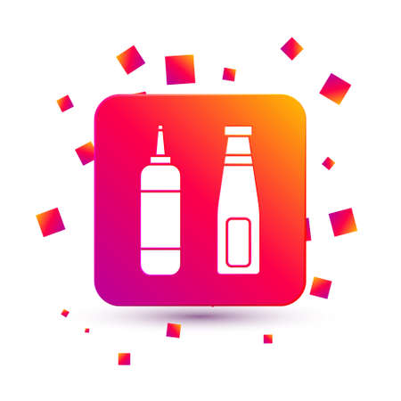 White Sauce bottle icon isolated on white background. Ketchup, mustard and mayonnaise bottles with sauce for fast food. Square color button. Vector Illustration 矢量图像