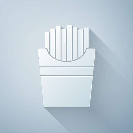 Paper cut Potatoes french fries in carton package box icon isolated on grey background. Fast food menu. Paper art style. Vector Illustration