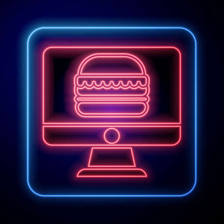 Glowing neon Online ordering and fast food delivery icon isolated on blue background. Vector Illustration Vectores